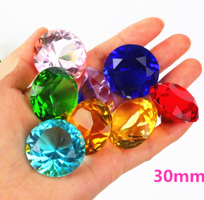 30mm Crystal Glass Diamond Home Decor  Ornaments FengShui Ornaments Decorative Ball For Wedding Miniatures Accessories Gifts