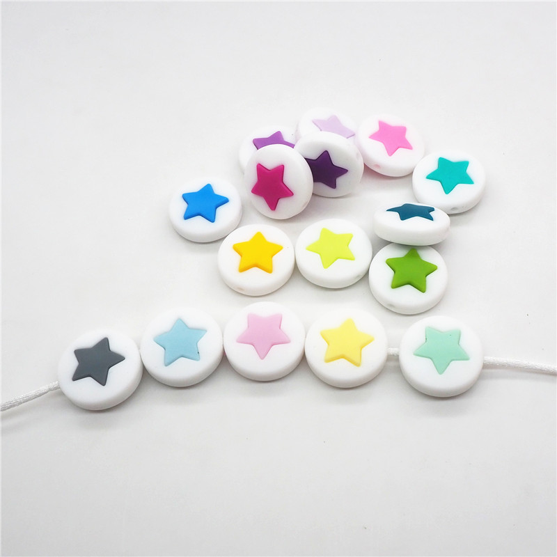 Chenkai 50pcs 21mm Silicone Round Star Teether Beads DIY Baby Shower Pacifier Dummy Jewelry Making Beads Toy Gift Accessories in Baby Teethers from Mother Kids