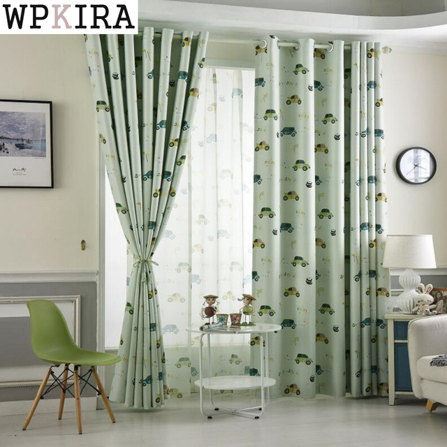 Superieur Customized Cartoon Blackout Curtains For Kids Bedroom Cars Curtain Tulle  Blue/Beige Curtains Drape For
