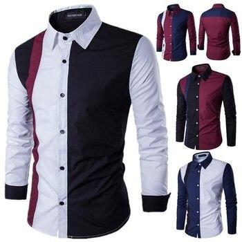 822a14157e55035 Zogaa 2019 осенние модные Лоскутные мужские рубашки с длинным рукавом  Turn-Down Воротник повседневные платья рубашки пикантный зауженный мужские  р.