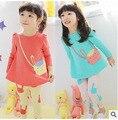 2015 девочка одежда комплект одежды хлопка футболка + брюки семья одежда conjunto menina ropa де нины vetement дочь