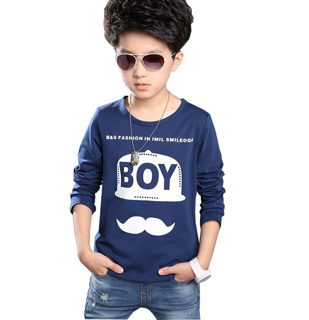 kids Boys long-sleeved T-shirt 2017 spring new version of the big boy shirt boys clothes Letter 100% cotton 6-16 years old