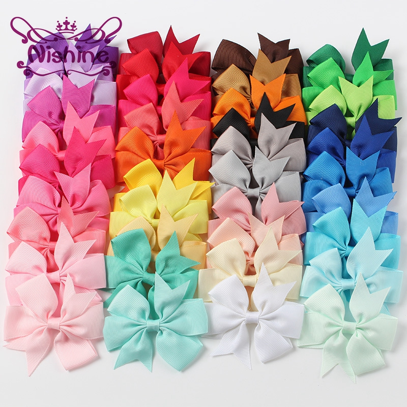 Nishine 40pcs/lot Ribbon Bows Clips Hairpin Girl's Hair Bows Boutique Hair Clip Kids Chidlren Hair Accessories(Color:40 Colors)