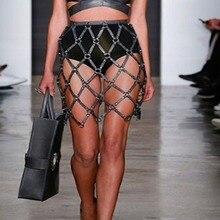 Женская Высокая уличная Готическая Универсальная регулируемая сексуальная стильная юбка из натуральной кожи с плетением, модная облегающая юбка