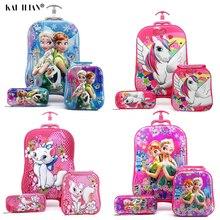 Детский чемодан для путешествий на колесиках 3D аниме стерео студенческий чехол на колесиках набор милый мальчик девочка мультфильм Ланч сумка пенал детский подарок