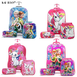 Case-Set Pencil-Box Lunch-Bag Trolley Travel-Suitcase On-Wheels Anime-Stereo Girl Kids
