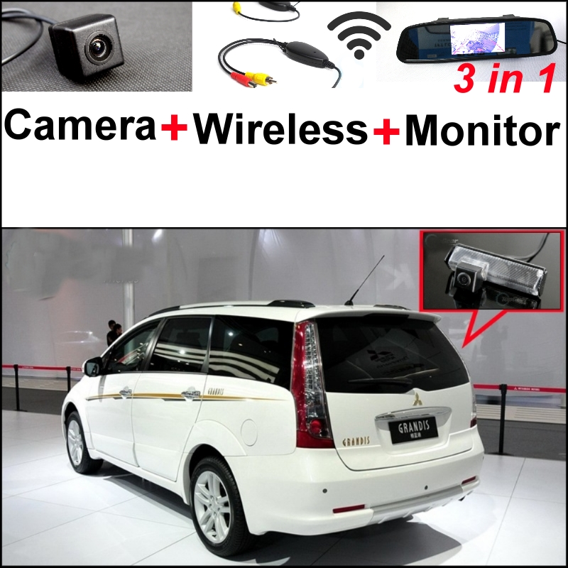 3 in1 Special Rear View Camera + Wireless Receiver + Mirror Monitor Parking System For Mitsubishi Grandis Space Wagon 2003~2011 wireless pager system 433 92mhz wireless restaurant table buzzer with monitor and watch receiver 3 display 42 call button