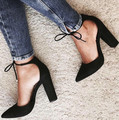 Fashion Chaussure Femme High Heels Women Lace Up Suede Pumps Chunky Heel Pointed Toe Dress Shoes 2017 Spring Summer Shoes Woman