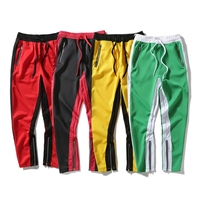 HIDOL Brand Sportswear Pants Stripe Side Contrast Color Vintage Men Sweatpants Hip Hop Streetwear Trousers Joggers Red/Yellow
