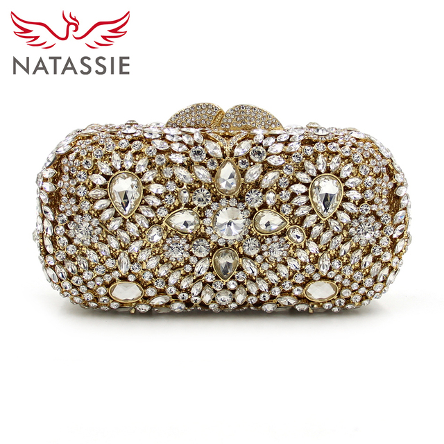 NATASSIE Luxury Crystal Clutches Designer Diamond Purse And Handbags Women Wedding Bag Gold Evening Party Clutch With Chain