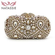 Natassie luxus kristall kupplungen designer diamant geldbeutel und handtaschen frauen hochzeit tasche gold abendgesellschaft kupplung mit kette