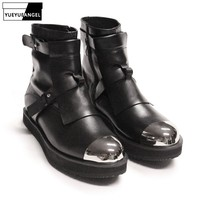 Mens Winter Med Heels Steel Toe Ankle Boots Motor Biker Shoes Straps Nature Leather Runway Male High Top Platform Shoes