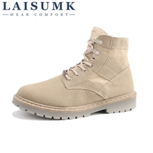LAISUMK Autumn Winter Men Canvas Boots Army Combat Style Fashion High-top Military Ankle Mens Shoes Comfortable Sneakers