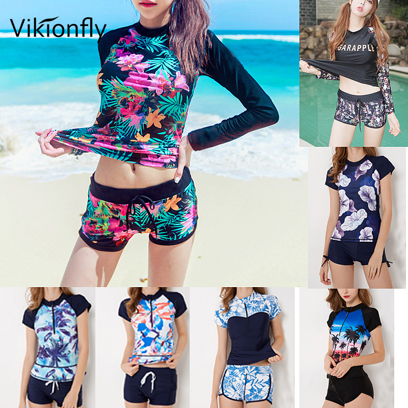 Vikionfly Large Tankini Swimsuits Women Plus Size Swimwear 2019 Long Sleeve Retro High Waist Bathing Suit