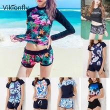 Vikionfly Large Tankini Swimsuits Women Plus Size Swimwear 2020 Long Sleeve Retro High Waist Bathing Suits Swim Suit With Shorts