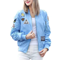 Women cute letters patch bomber jacket coat long sleeve zipper pockets baseball uniform jackets ladies streetwear tops CT1315