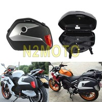 Universal Motorcycle Side Cases 20L 2 Pieces Side Box Tail Luggage Pannier Cargo for Suzuki Vstorm DL650 GW250 Honda Triumph BMW