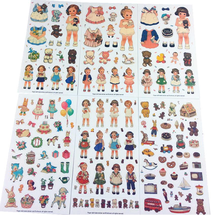 6 листов/упаковка/лот Корея Kawaii кукла девочка изменить ткань бумажная наклейка набор note стикер Многофункциональные Декоративные наклейки модный подарок