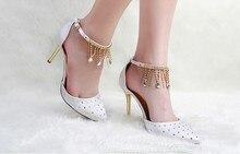 Fashion Spring White Pumps Summer Rhinestone  Shoes Lady's Wedding Dress Shoes  Woman Prom Dress Shoes Free Shipping