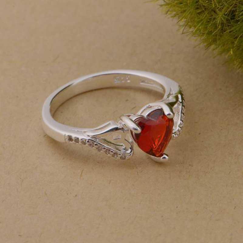 חמוד אהבת לב אדום זירקון סיטונאי 925 תכשיטי כסף מצופה טבעת, תכשיטים טבעת עבור נשים,/KGOFTRVC KVYIIYUL