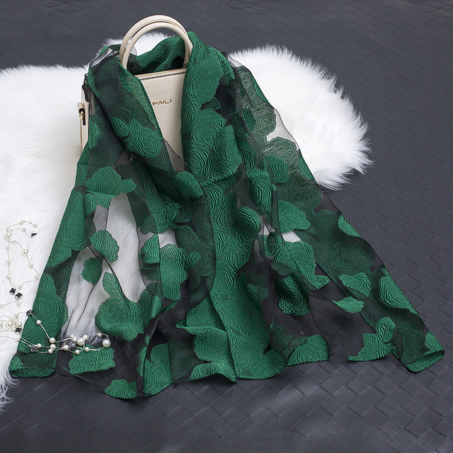 f0d56601589 Brand New 2018 Spring Summer Scarfs For Ladies Plus Size Silk Cut Rose  Floral Scarf Eugen yarn Scarves Ponchos Wholesale