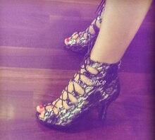 Sexy Black Lace Dance Boots Salsa Latin Ballroom Salsa Tango Bachata Mambo Dance Shoes Salsa Dance High Heels Boots DS500