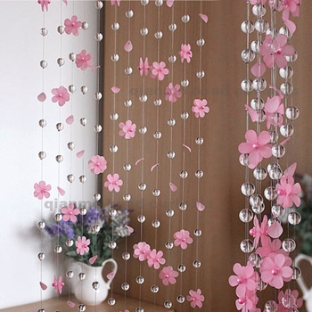 NEW 8meters Glass Crystal Beads Curtains Three Dimensional Flower Pastoralism For Living Room