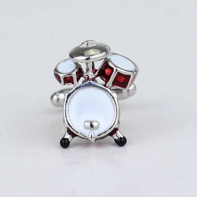 dongsheng New Classic Style Cufflinks Novelty Red Musical Instrument Cufflinks 3D Drum Design Gift For Men Wedding Jewelry -40