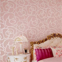 Papel De Parede 3d Flower Romantic Floral Non Woven Flocking Wallpaper For Bedroom Living Room Girls
