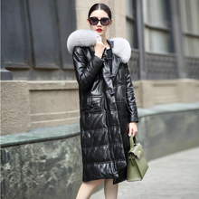 2016 new sheep leather leather jacket down jacket women's long fox fur trim collar