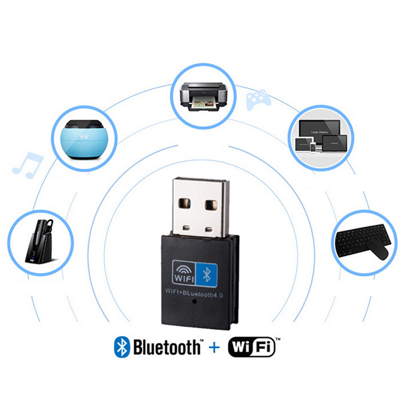 Mini Wireless USB Adapter 150Mbps WiFi Bluetooth 4.0 2 In 1 Receiver For Computer PC EM88