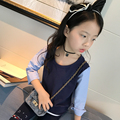 2017 spring and autumn fashion children's cotton T-shirt girls 4-11 years of knitting woven stitching pullovers