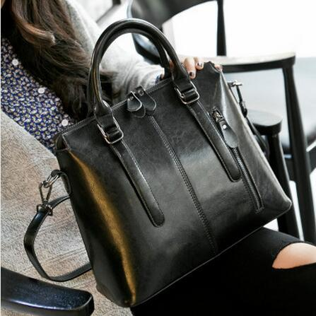 Brand New Fashion Women Tote Bag High Quality Genuine Leather Handbag  Oil Wax Messenger Sag Solid Shoulder Bag