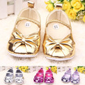 Fashion Metallic PU Bow Tie Baby Girl Shoes/Cute Soft Sole Baby Crib Shoes/Infant prewalk Shoe Sapato Infantil Menina Size 2-5.5