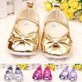 Moda Metallic PU Gravata borboleta Sapatos Da Menina Do Bebê/Bonito Sola Macia Sapatos Berço Do Bebê/Infantil Sapato prewalk Sapato Infantil De Menina Tamanho 2-5.5