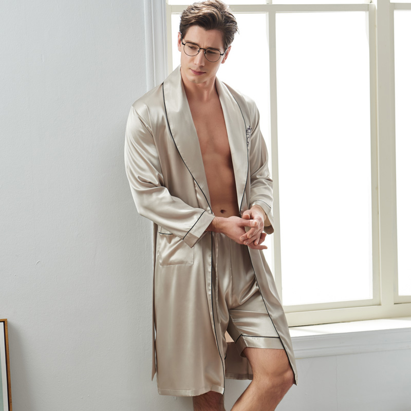 Xifenni Sexy Silk Man Sleeping Robe Shorts Sets Spring New Satin Silk Sleepwear Male Long-Sleeve Faux Silk Bathrobes 2824