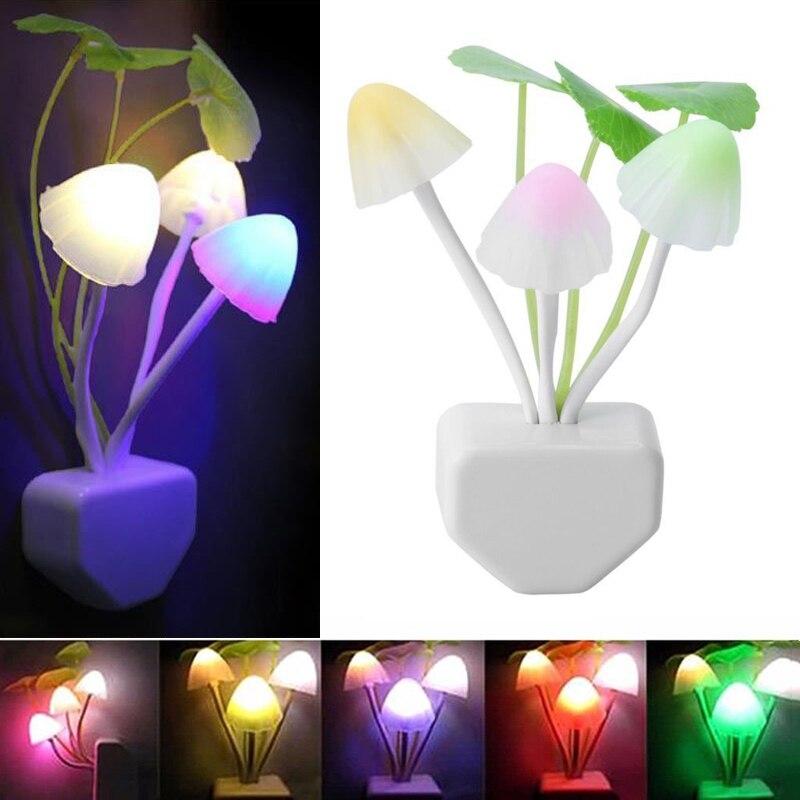 Mushroom Sensor Night Light Plug In Lamp Led Night Lights RGB With Dusk To Dawn Bedroom Lamp For Kids Baby Children NightLight