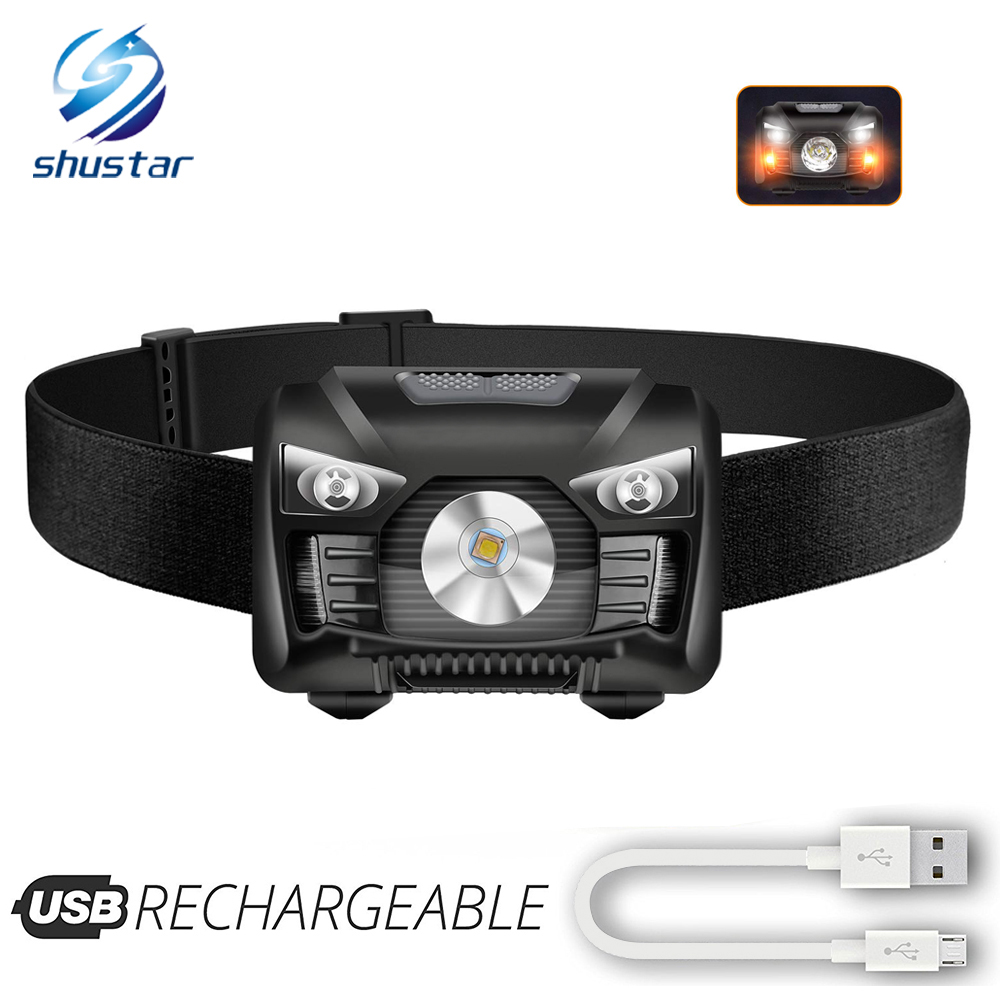 Rechargeable LED Headlamp Induction Switch Headlight Red Light + White Light Can Be Used For Fishing, Cycling, Adventure, Etc.