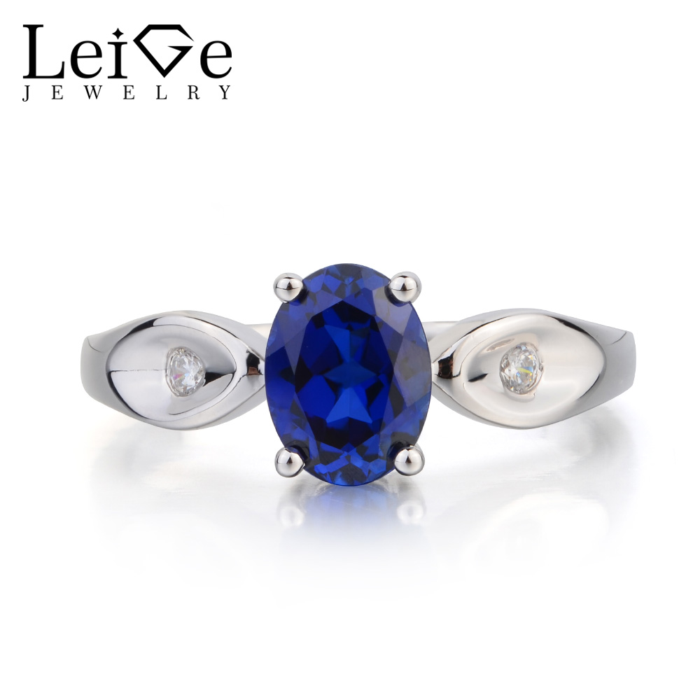 Leige Jewelry Blue Sapphire Ring Anniversary Ring September Birthstone Oval Cut Blue Gemstone 925 Sterling Silver Gifts for Her leige jewelry oval cut lab blue sapphire promise ring 925 sterling silver ring gemstone september birthstone halo ring for her
