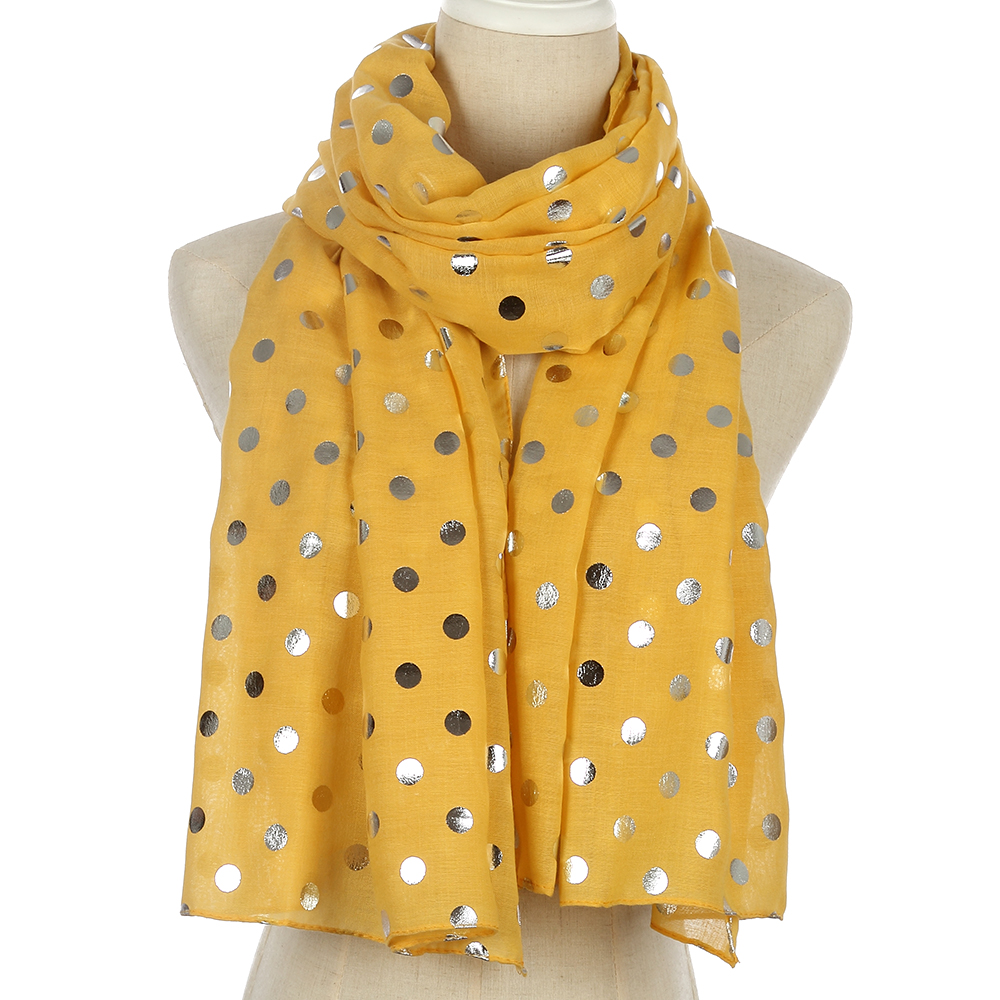 FOXMOTHER New Fashion Shiny Foil Sliver Yellow Dot   Scarf   For Womens