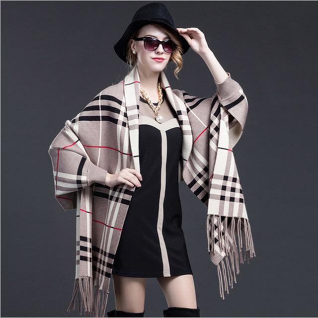 Nueva llegada del otoño camisa de murciélago capa suéter cardigan de punto con flecos bufandas de moda abrigo