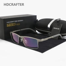 HDCRAFTER Glasses Frame Men Clear Optical Prescription Eyeglasses Frames Aluminum-Magnesium Computer Lens