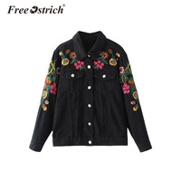 Free Ostrich 2019 Autumn Women Denim Jacket Coat Floral Embroidery Casual Coats Outerwear Chaqueta Mujer Sep19