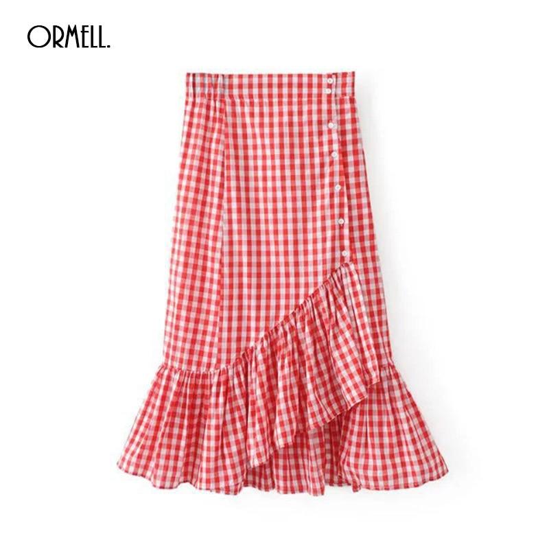 ORMELL 2017 Summer Women Elegant Plaid Skirt Fashion Streetwear Girls Bodycon High Waist Ruffles Vintage Black Red Long Skirts