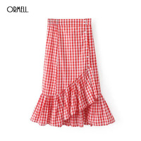 ORMELL 2017 Summer Women Elegant Plaid Skirt Fashion Streetwear Girls Bodycon High Waist Ruffles Vintage Black