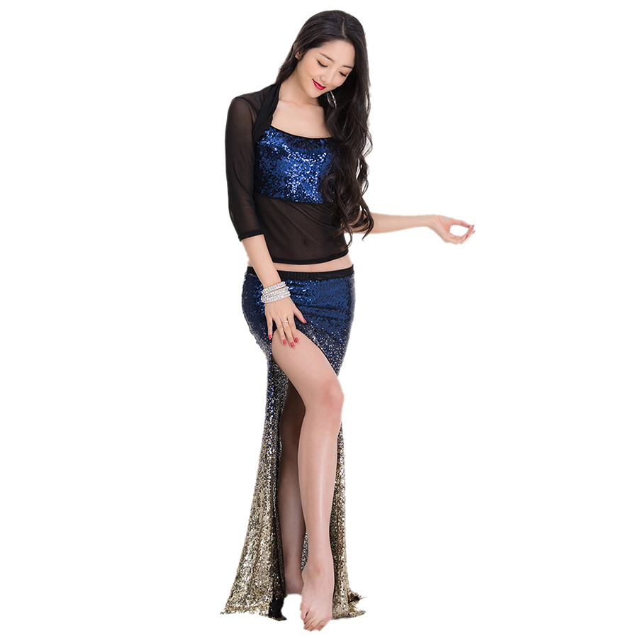 Belly Dance Mermaid Costume Sequin Fishtail Skirt 2Sets Sexy Bellydance Dancing Clothing Practice Wear Bling Stage Show Clothes