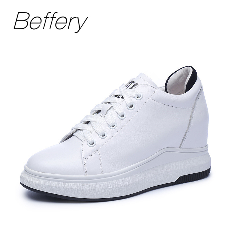 Beffery Spring/Summer Genuine Leather Women Casual Shoes Platform Wedge High heels 7cm Fashion Lace-up Shoes Women Sneakers beffery 2018 new fashion sneakers women genuine leather lace up flat platform shoes for women fashion star casual shoes a1md701