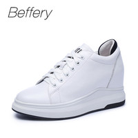 Beffery Spring/Summer Genuine Leather Women Casual Shoes Platform Wedge High heels 7cm Fashion Lace up Shoes Women Sneakers