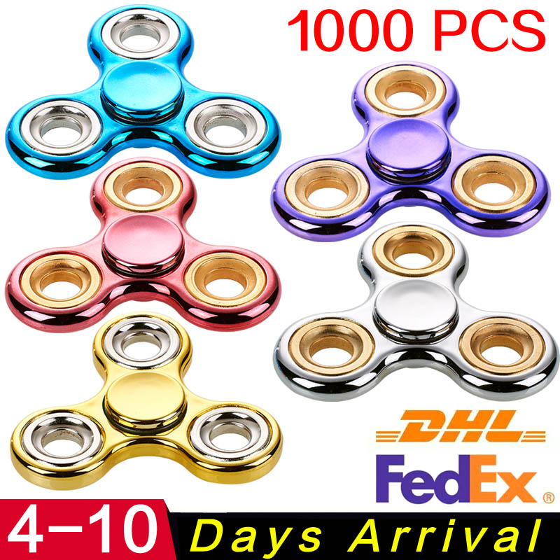50pcs/lot 500pcs/lot  Finger hand Spinner EDC Sensory Cent finger metal For Autism Adult Anti Stress Toys 7 colors lighting funny toy abs plastic edc hand spinner for autism and adhd rotation long time stress relief toys