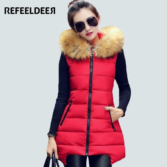 Women Winter Vest Waistcoat 2016 Womens Long Vest Sleeveless Jacket Faux Fur Collar Hooded Down Cotton Warm Vest Female